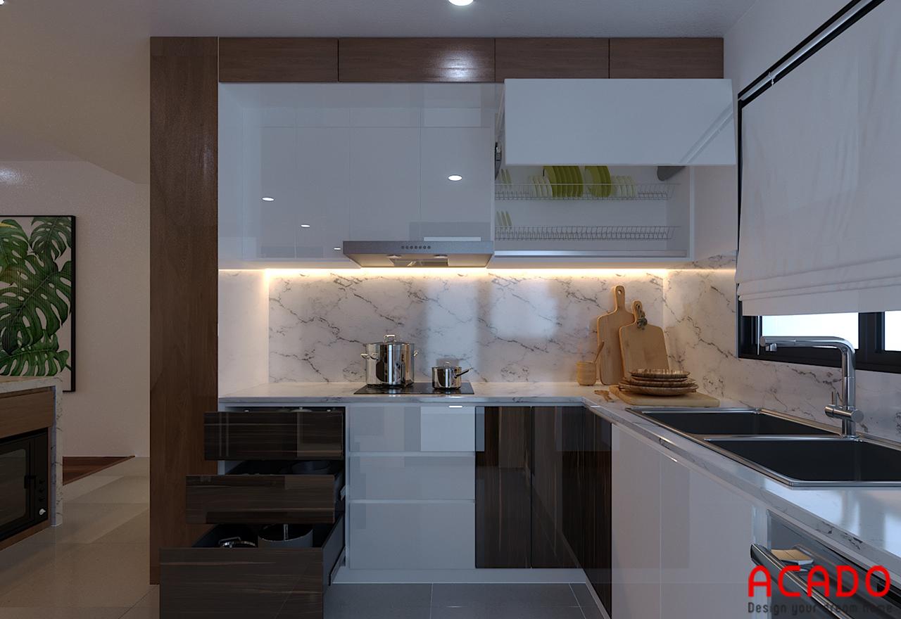 Tủ bếp gỗ công nghiệp trắng kết hợp màu vân gỗ ấm cúng và sang trọng