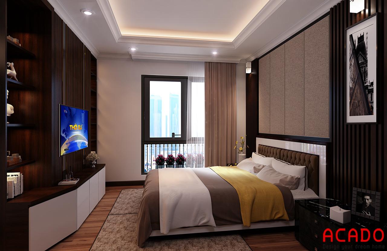 Phòng ngủ thiết kế với các gam màu trầm tạo cảm giác yên bình và ấm cúng