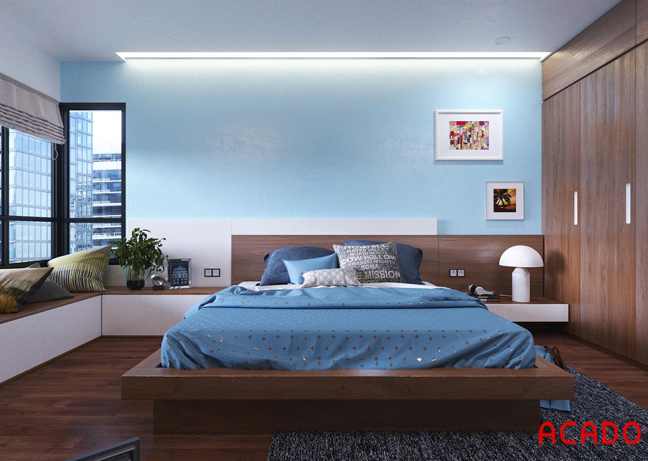 Giường ngủ được làm từ chất liệu gỗ tự nhiên cho độ bền cao