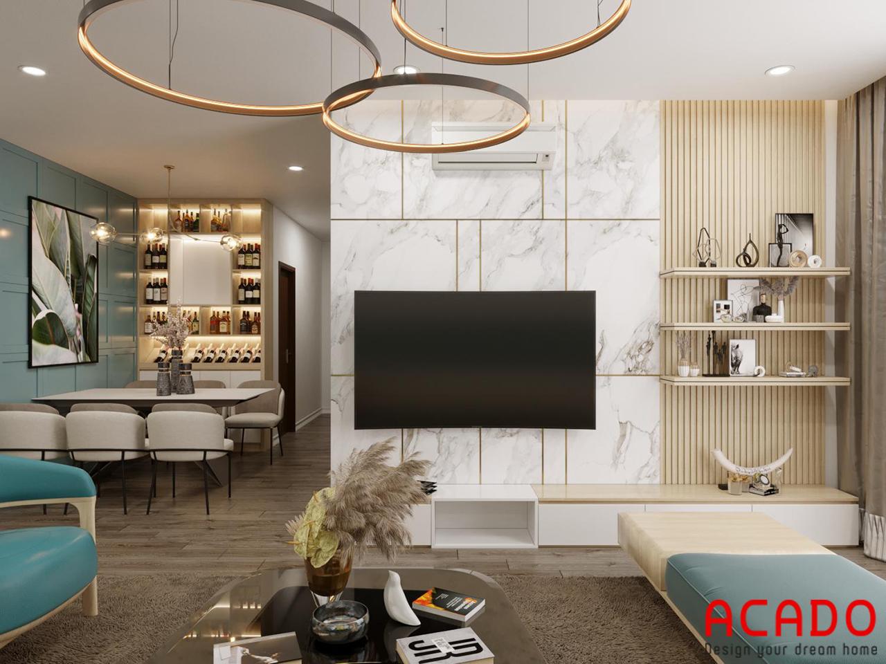 Mẫu thiết kế phòng khách hiện đại, sang trọng sử dụng các gam màu sáng trẻ trung