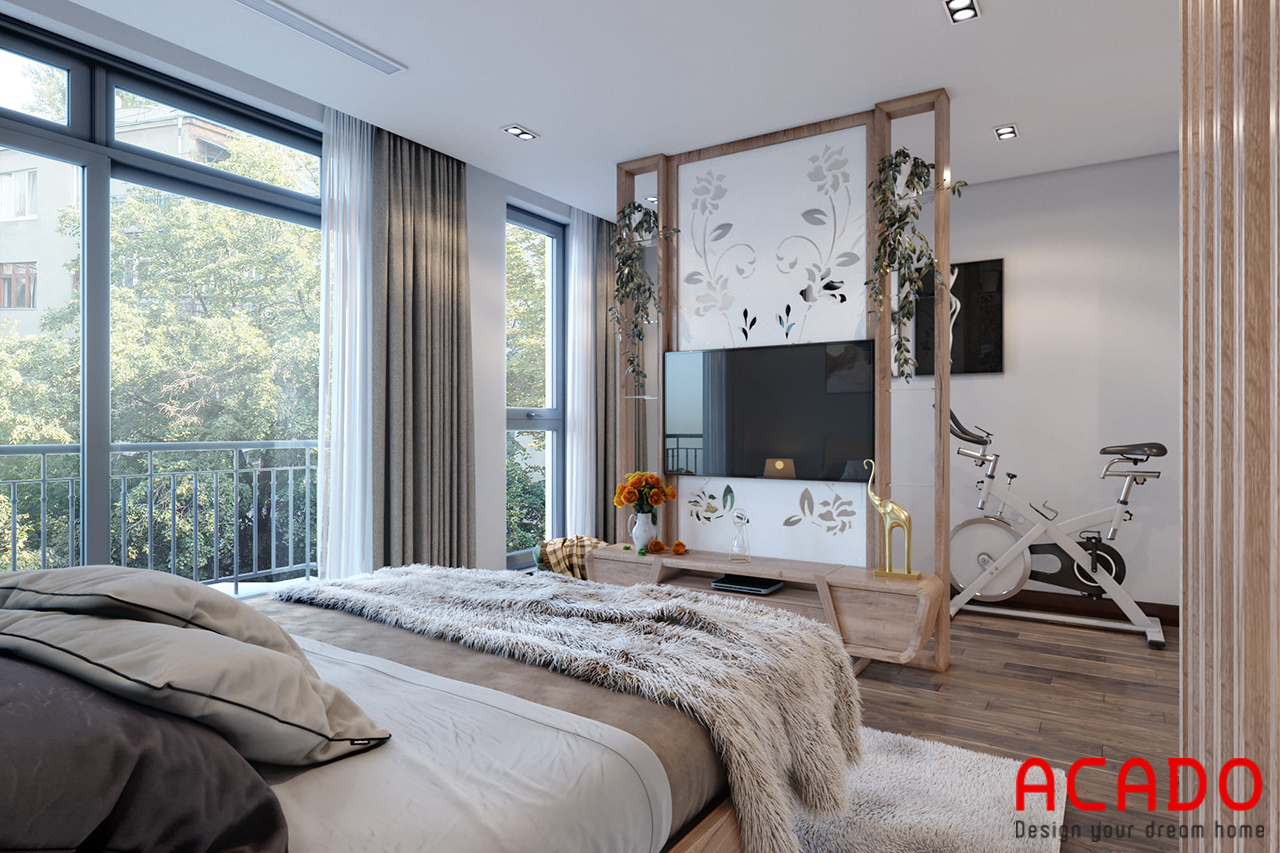 Với phòng ngủ có diện tích rộng có thể bố trí theo mẫu thiết kế này để tạo cảm giác thoải mái