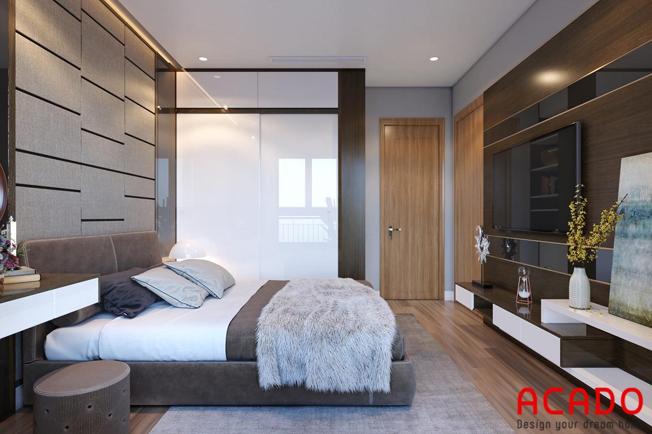 Phòng ngủ với phong cách sang trọng, sử dụng chăn lông giúp không gian thêm hiện đại