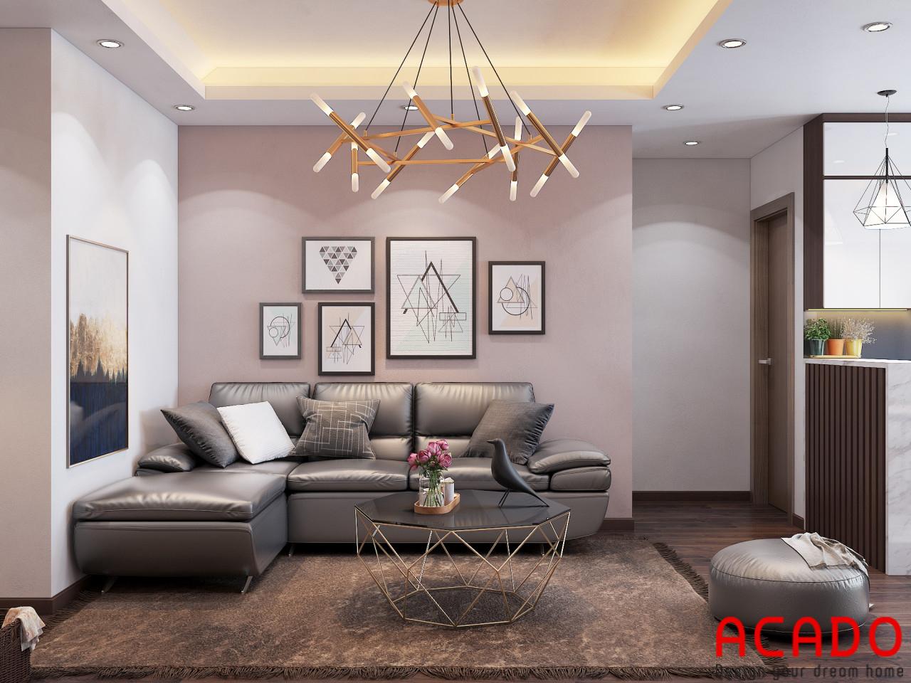 Bộ sofa da trong phòng khách làm tăng them sự sang trọng cho gia chủ