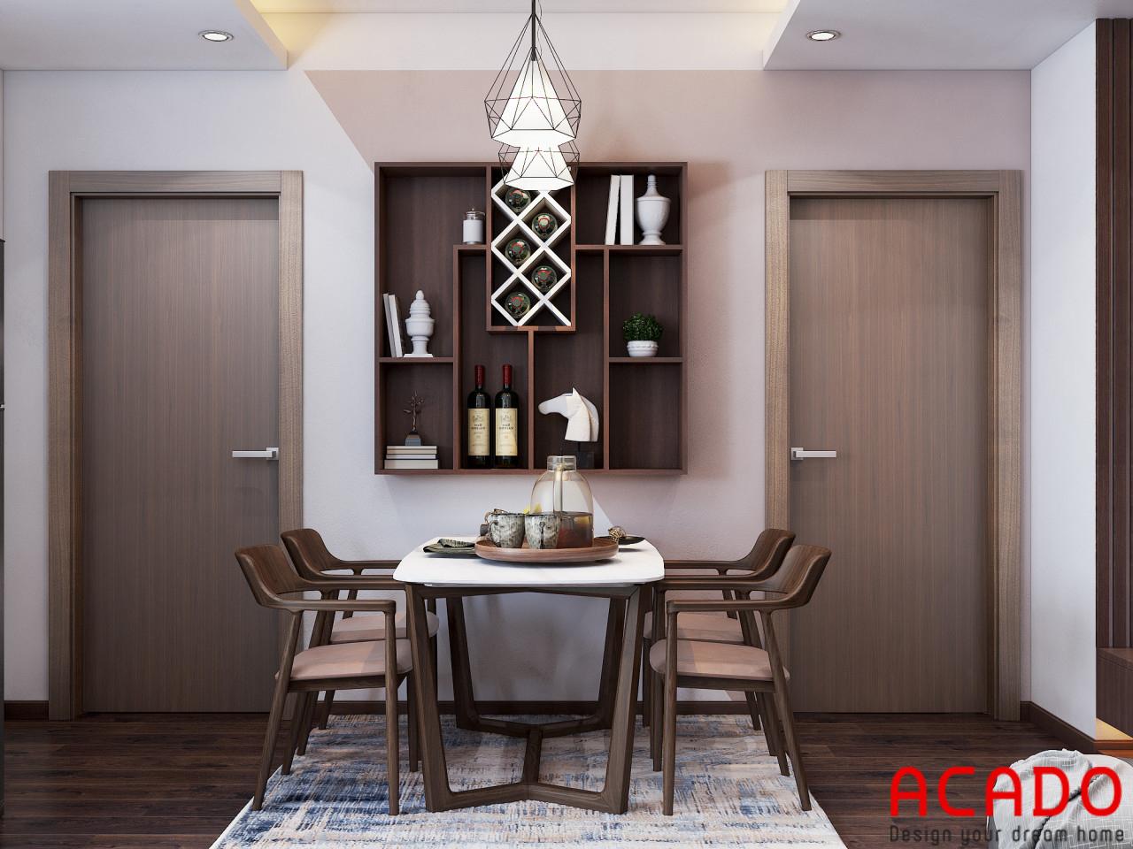 Bộ bàn ăn sắp xếp gọn gàng - thiết kế nội thất chung cư 80m2