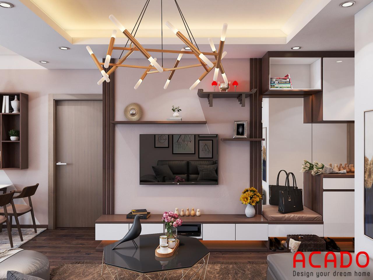 Thiết kế phòng khách với kệ tivi kết hợp tủ trang trí hiện đại, trẻ trung - thiết kế nội thất chung cư 80m2