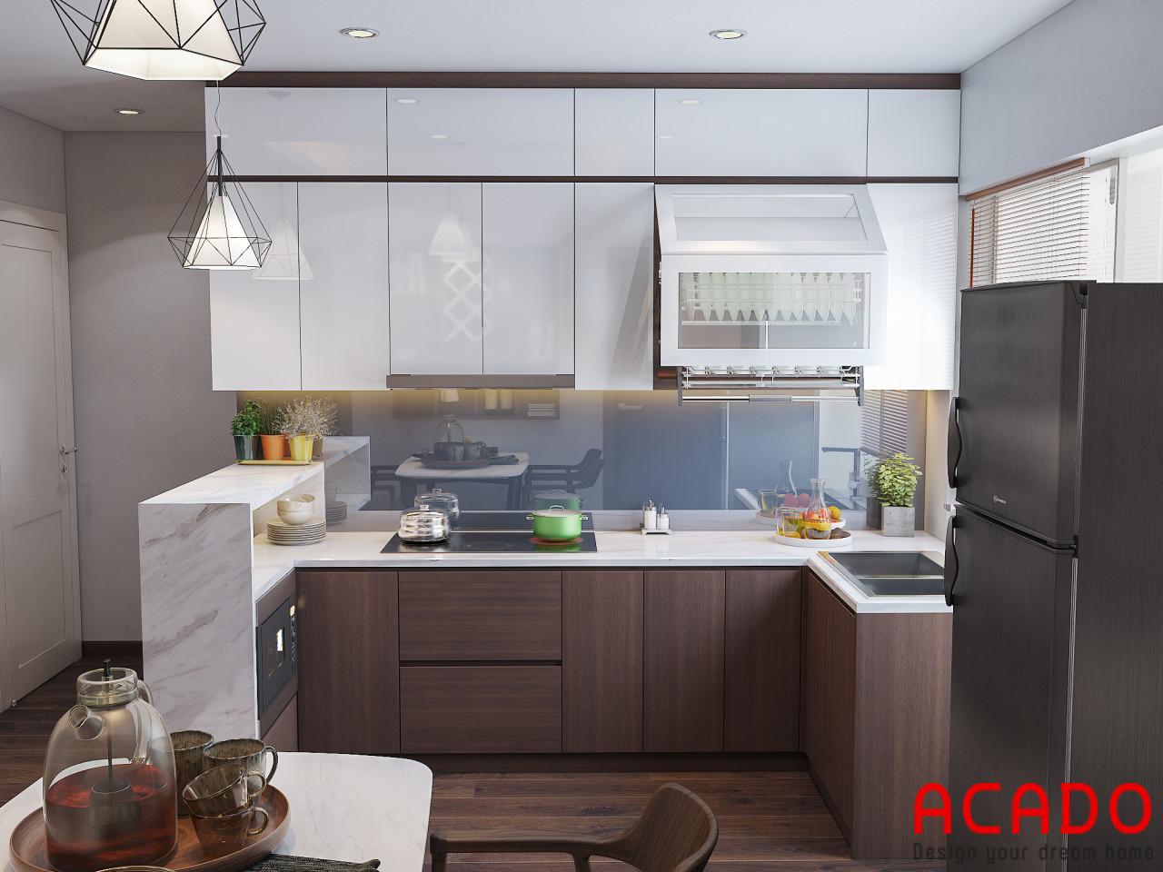 Khu bếp thiết kế bộ tủ bếp chữ L tận dụng không gian góc, màu trắng kết hợp màu vân gỗ