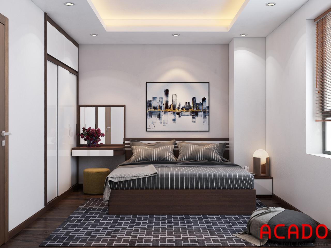 Phòng ngủ chính được thiết kế rộng dãi, đầy đủ tiện nghi cho gia chủ