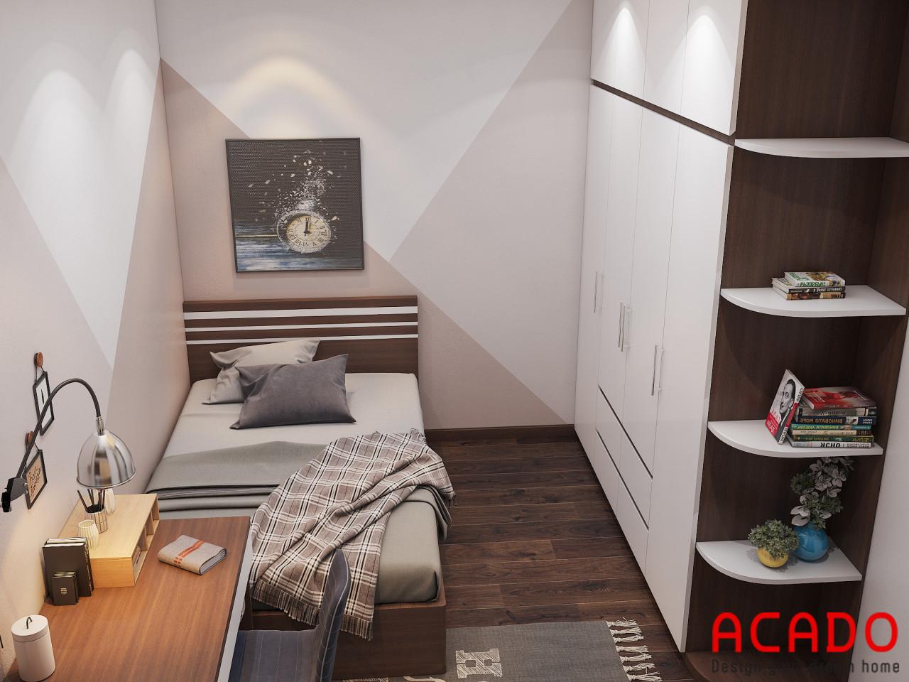 Phòng ngủ có diện tích hẹp nên ACADO chỉ thiết kế giường ngủ 1m2x2m để tiết kiệm không gian