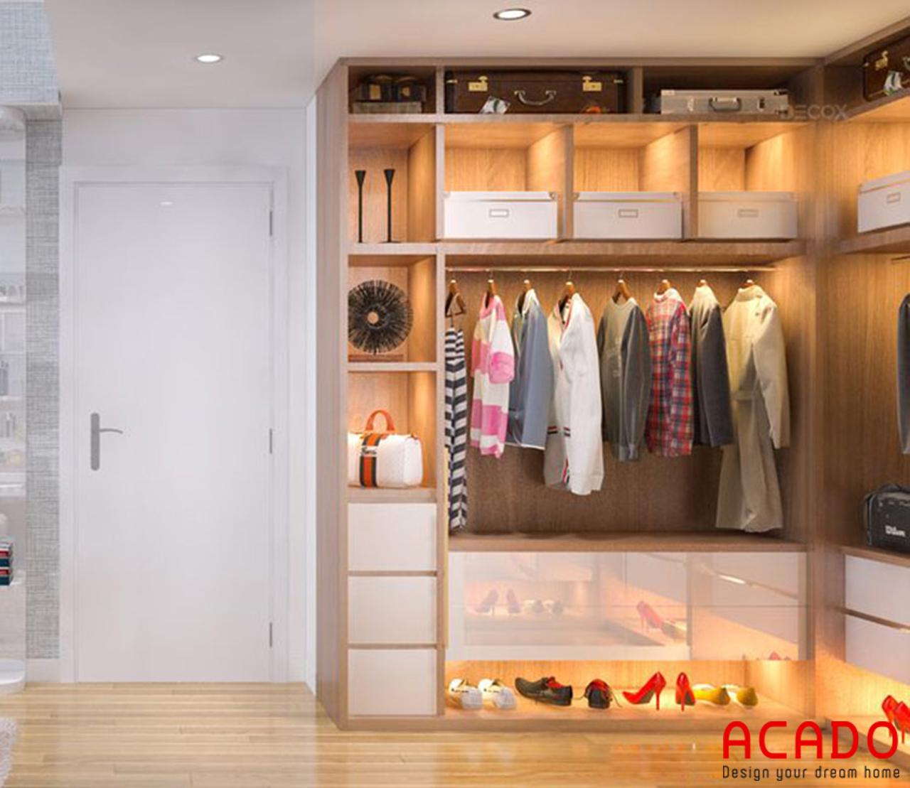 Tủ quần áo ngăn nắp và gọn gàng - thiết kế nội thất chung cư 90m2