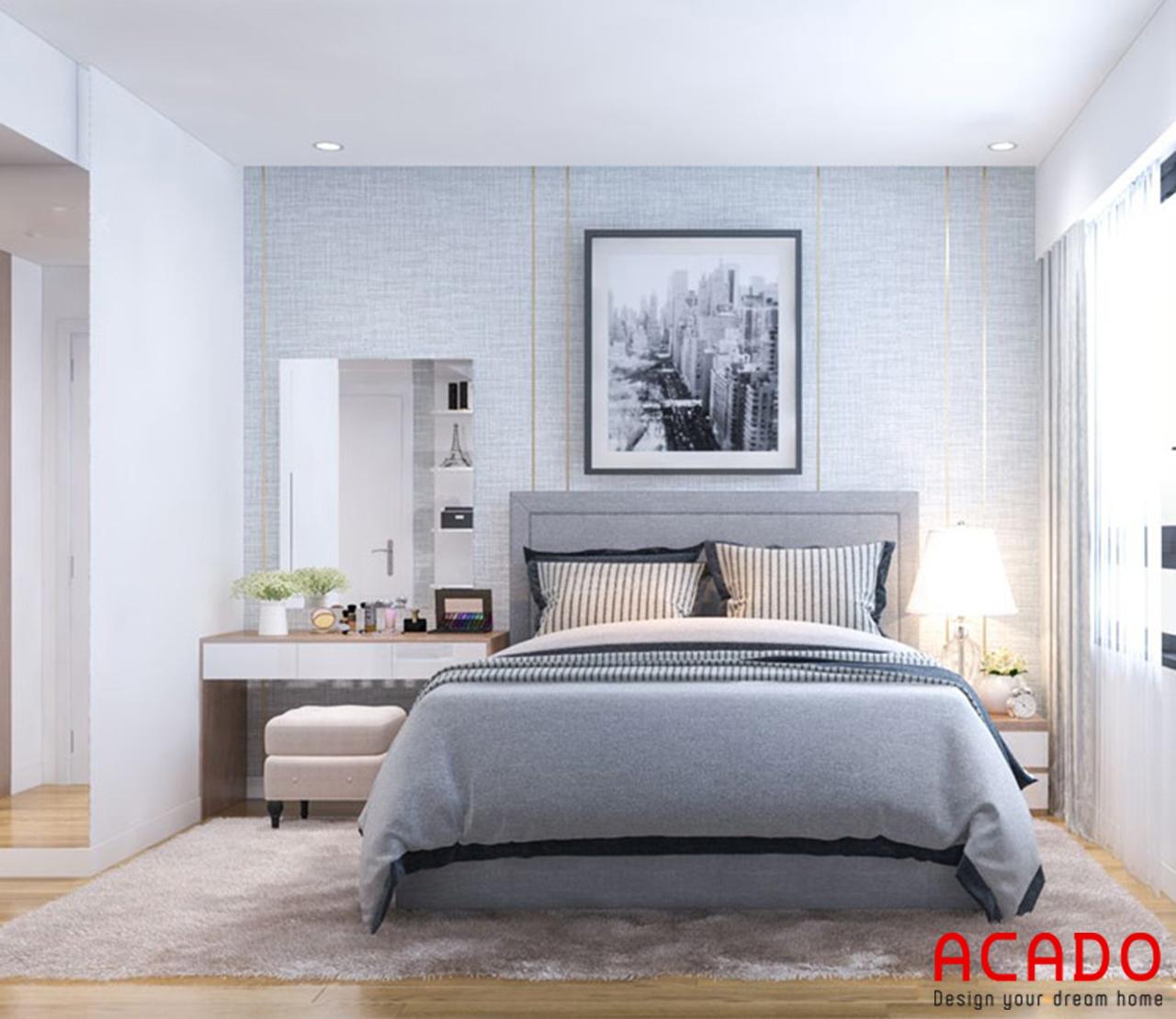 Không gian phòng ngủ bố trí giường ngủ màu ghi sang trọng