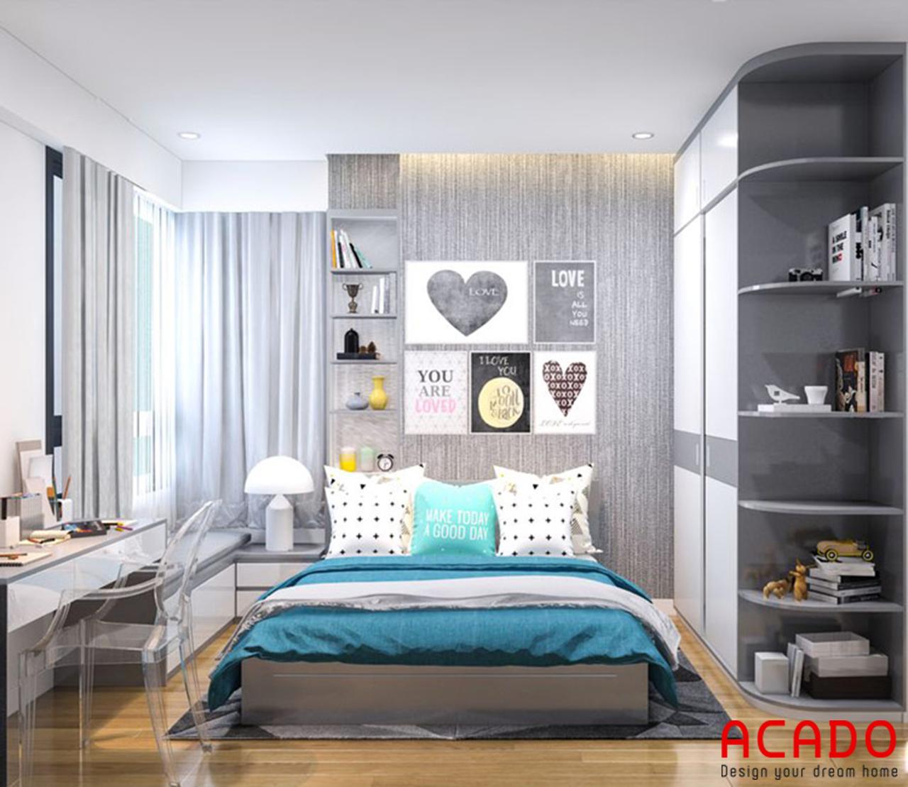 Không gian phòng ngủ sử dụng các gam màu trung tính tạo cảm giác thoải mái, dễ chịu