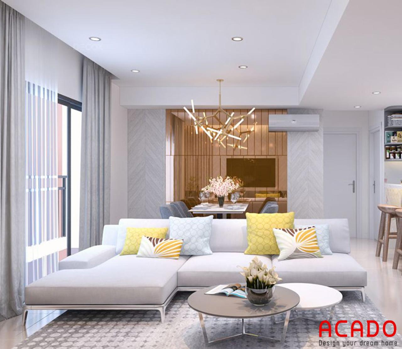 Không gian phòng khách sử dụng gam màu sáng tạo cảm giác rộng dãi, thoải mái