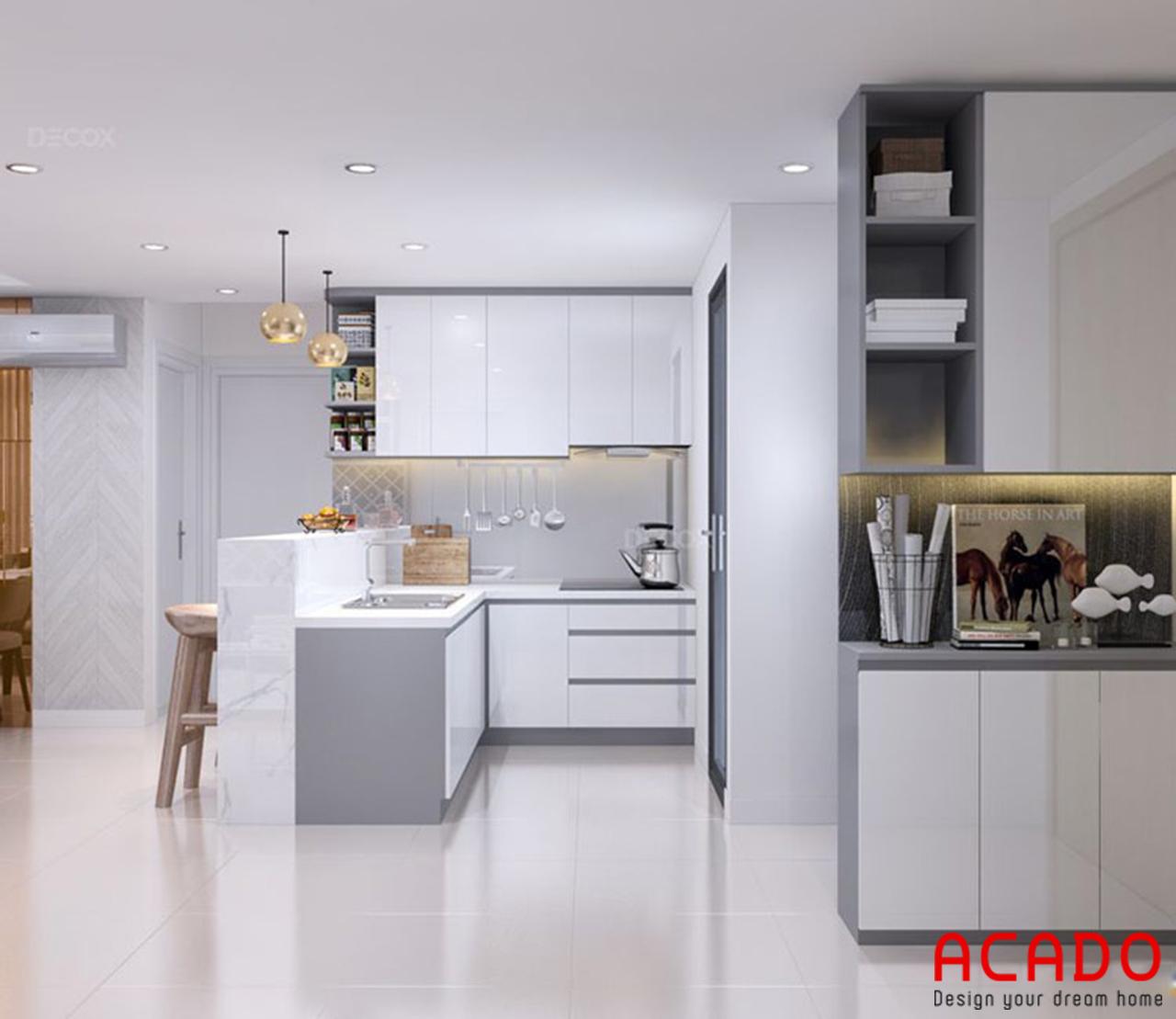 Khu vực bếp thiết kế màu trắng và ghi toát lên vẻ đẹp sang trọng