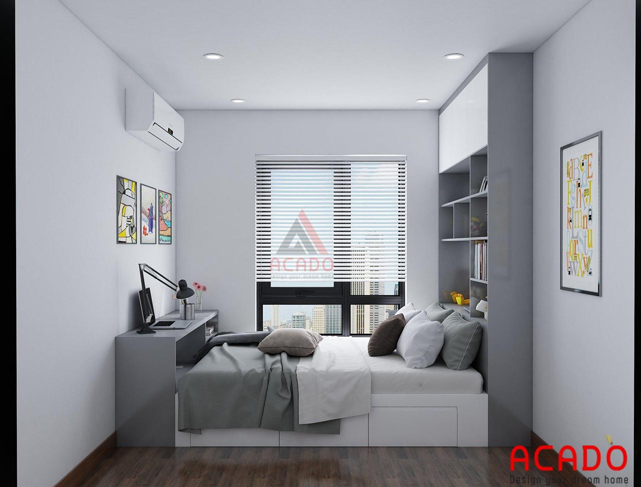 Thiết kế nội thất phòng ngủ 02 bao gồm bàn học, giường ngủ và tủ trang trí