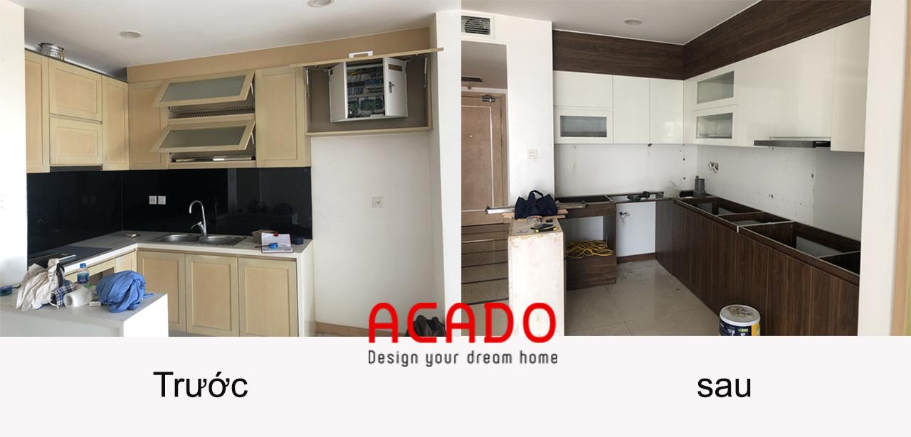 Hình ảnh so sánh trước và sau khi lắp đặt tủ bếp - nội thất ACADO