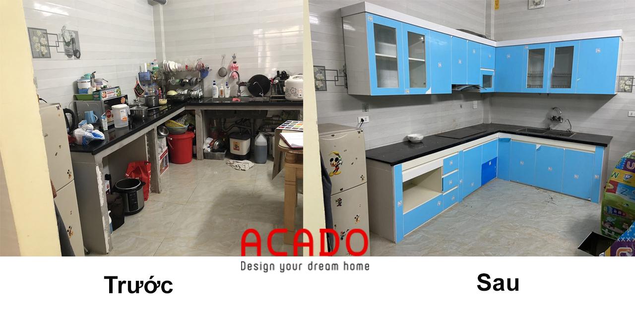 Hình ảnh so sánh trước và sau khi lắp đặt tủ bếp hoàn thiện