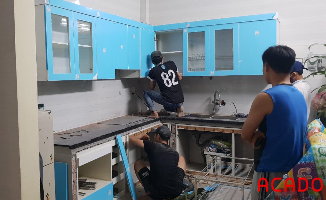 Tủ bếp khung cánh chất liệu nhựa Picomat cánh Acrylic sang trọng