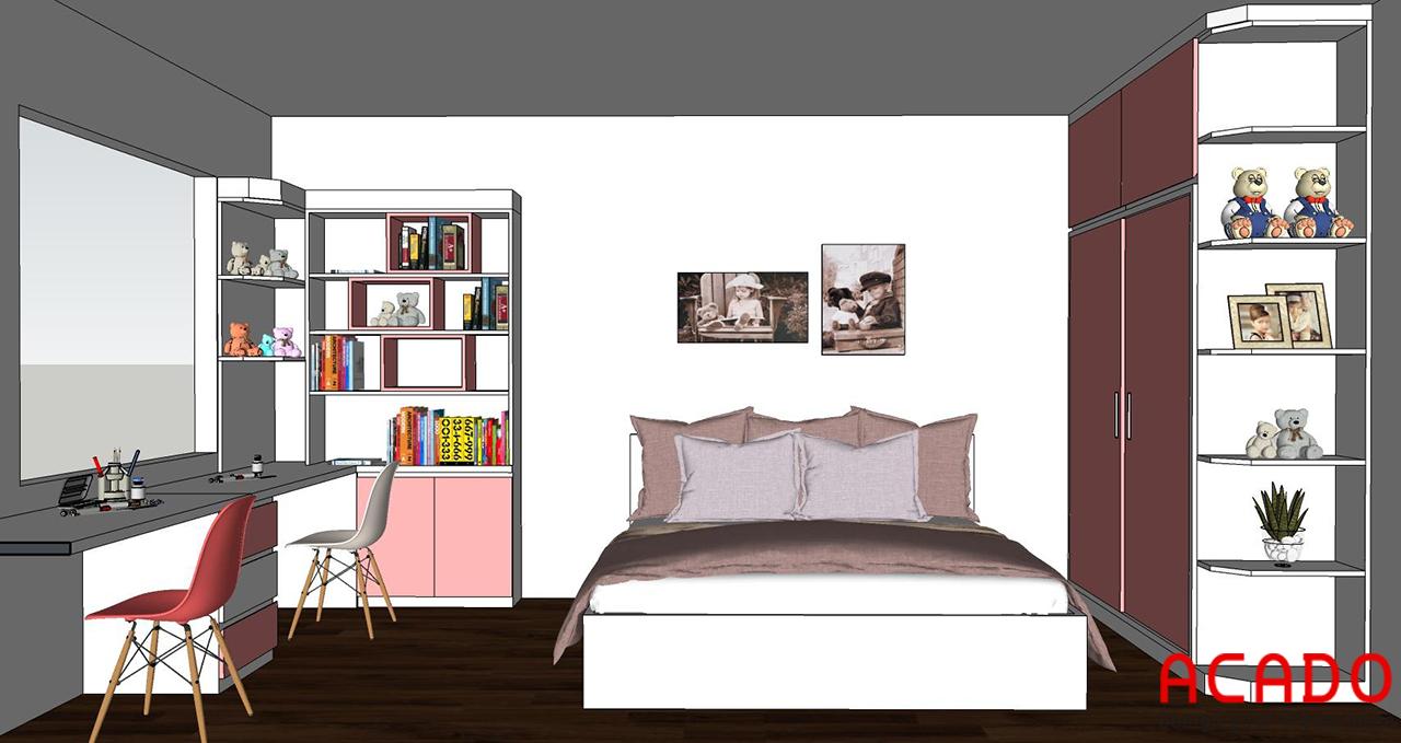 Bản thiết kế phòng ngủ trẻ em ACADO thiết kế với tone màu trắng hồng cho các bé