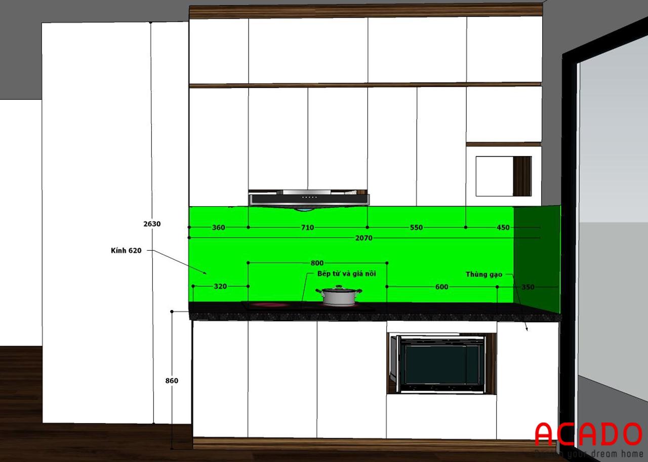 Thiết kế tủ bếp cho gia đình chị Thủy - nội thất ACADO