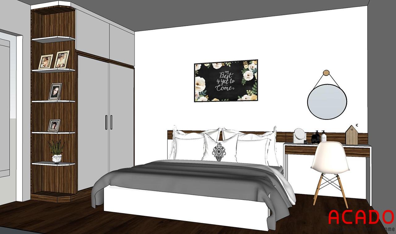Nội thất phòng ngủ bố mẹ ACADO lên thiết kế với tone màu trắng kết hợp màu vân gỗ