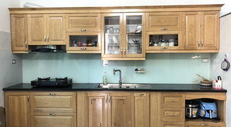 Tủ bếp gia đình chị dung sau khi lắp đặt hoàn thiện