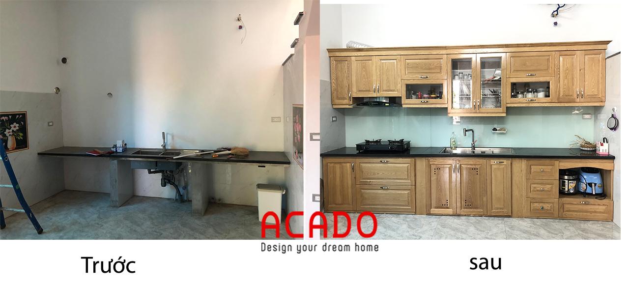 Hình ảnh so sánh trước và sau khi lắp đặt tủ bếp , ACADO thiết kế và thi công