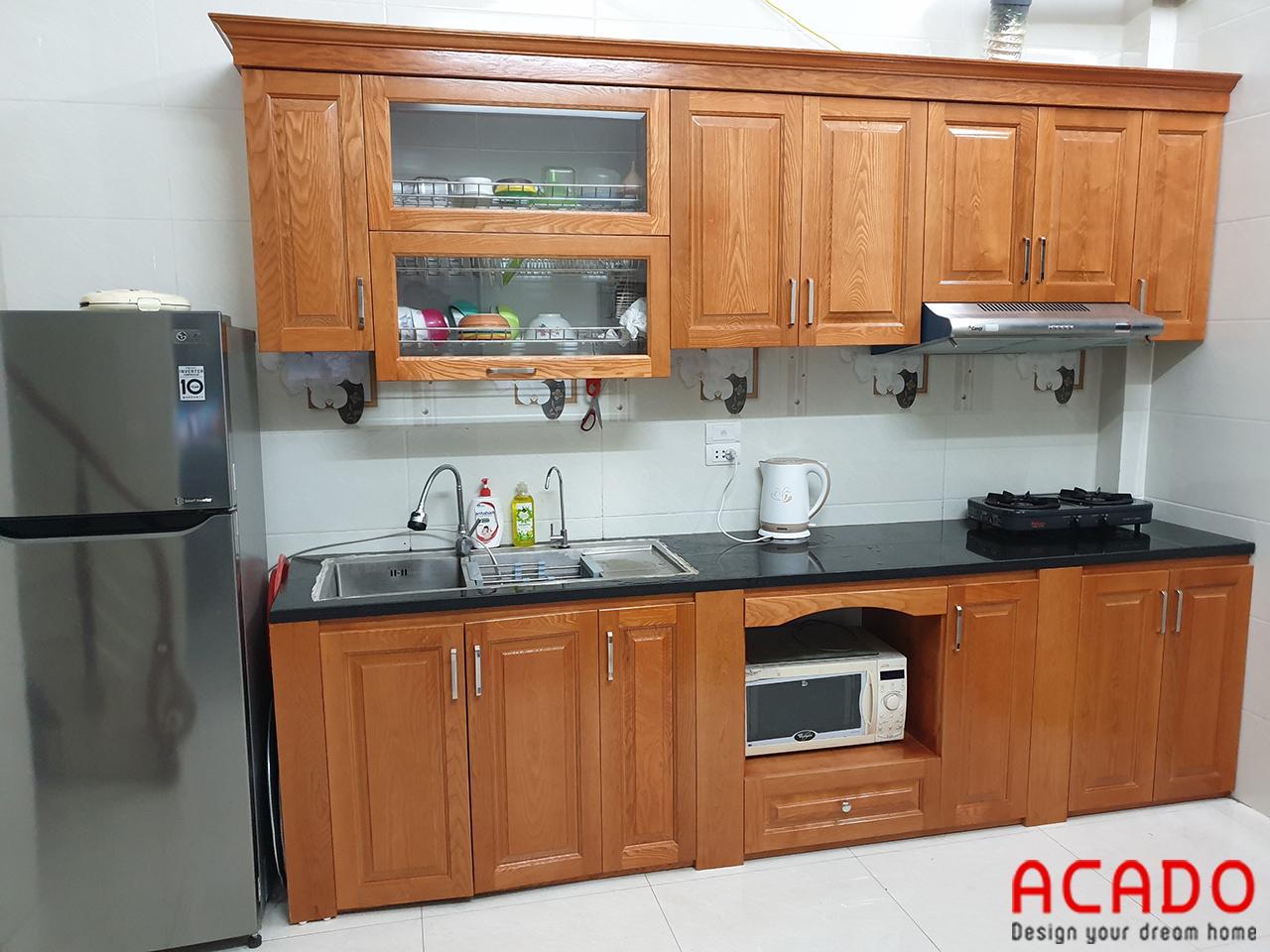 Tủ bếp khung cánh chữ I nhỏ gọn nhưng vẫn đầy đủ công năng sử dụng - Làm Tủ Bếp Tại Phú Lương