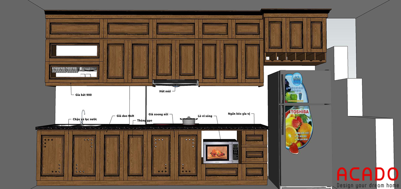 Sau khi trao đổi với gia đình, ACADO đã lên thiết kế phù hợp với căn bếp