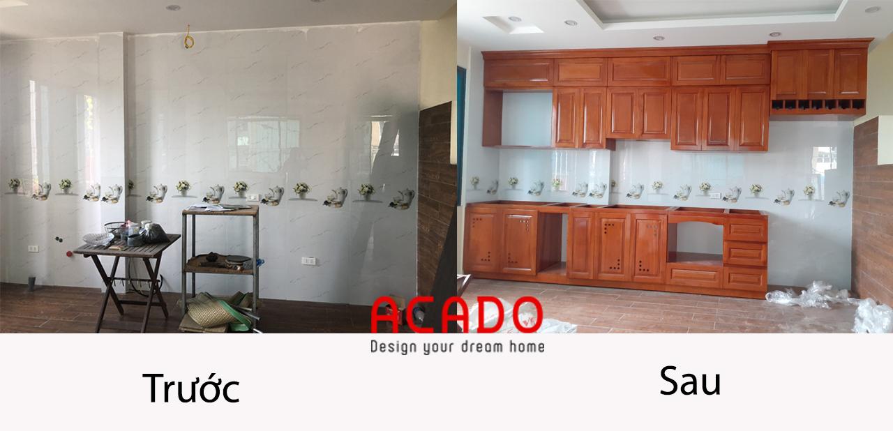 Hình ảnh so sánh trước và sau khi lắp đặt tủ bếp chất liệu gỗ xoan đào