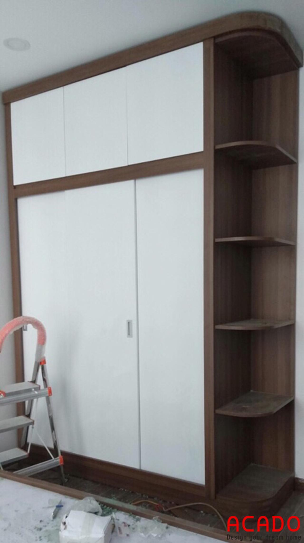 Tủ quần áo gỗ công nghiệp Melamine thiết kế cánh lùa tiết kiệm không gian