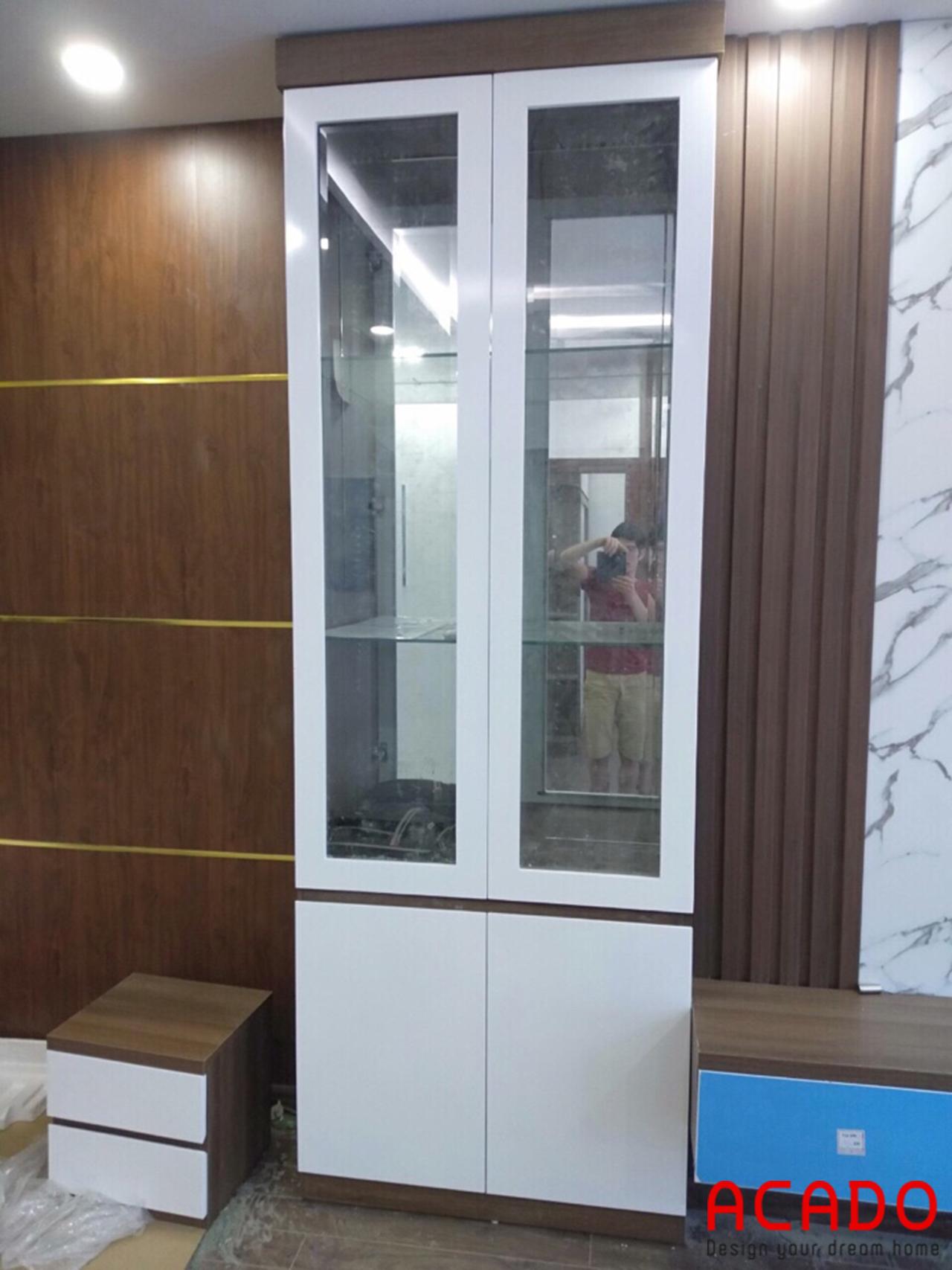 Tủ rượu trang trí cho phòng khách , ACADO thiết kế và thi công
