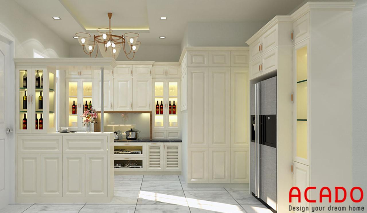 Nội thất phòng bếp sử dụng toàn bộ chất liệu gỗ sồi tự nhiên phun sơn trắng cho gia chủ