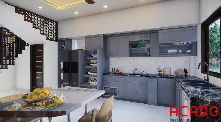 Tủ bếp gô công nghiệp sơn bệt màu xanh lam độc đáo và lạ mắt