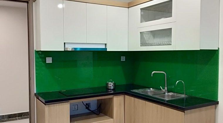 Tủ bếp Melamine kính bếp màu xanh lá cây nổi bật và thu hút