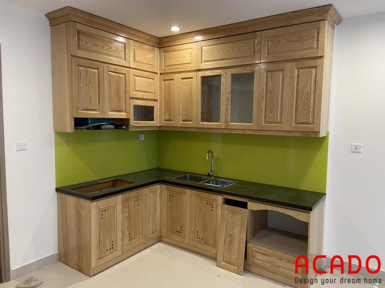 Bộ tủ bếp đã hoàn thiện để bàn giao cho khách hàng
