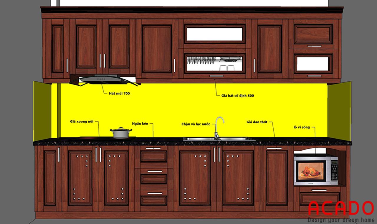 Sau khi trao đổi với chủ nhà ,ACADO đã hoàn thiện bản vẽ phù hợp với không gian căn bếp