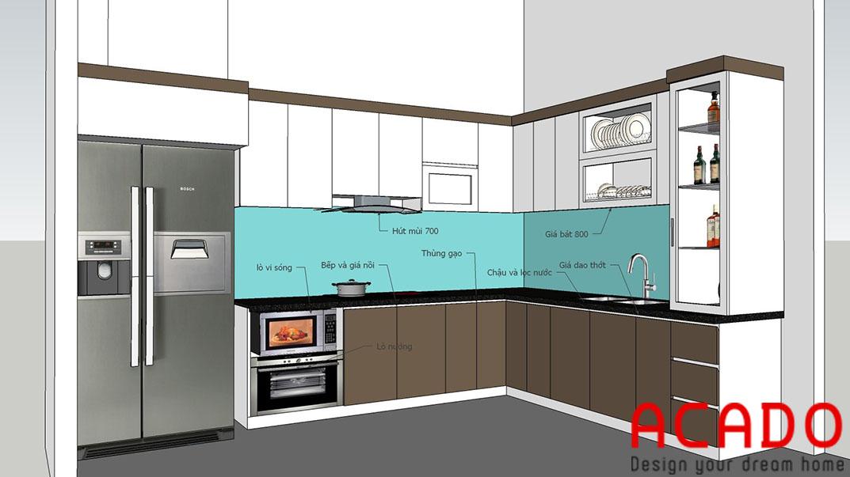 Sau khi bàn bạc với chủ nhà ACADO đã đưa ra bản thiết kế phù hợp với không gian căn bếp