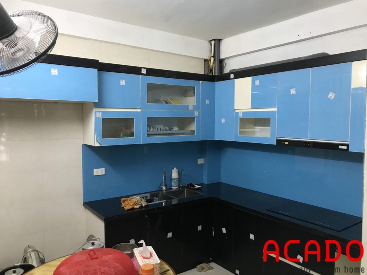 Công trình lắp đặt tủ bếp được hoàn thiện và bàn giao cho gia đình anh Khánh