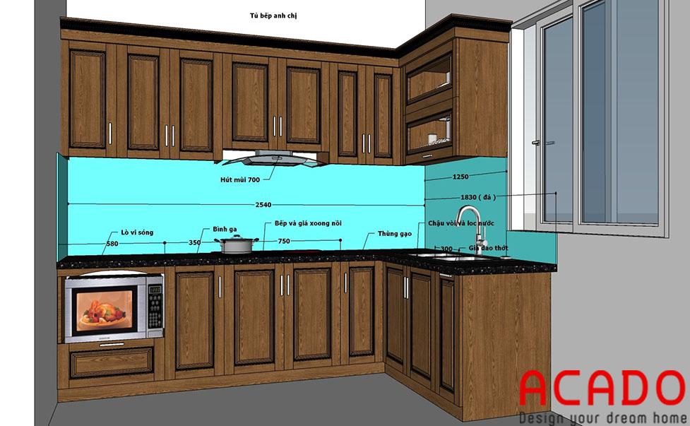 Bản thiết kế cho căn bếp gia đình chị Nhung-Nội thất ACADO