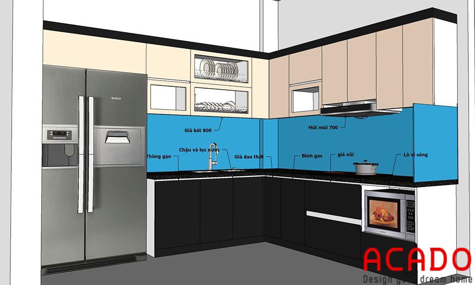 Bản thiết kế tủ bếp của gia đình anh khánh-Nội thất ACADO