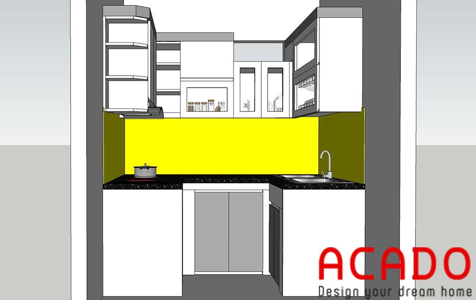 Bản thiết kế 3d cho căn bếp của gia đình chị Trang-Nội thất ACADO