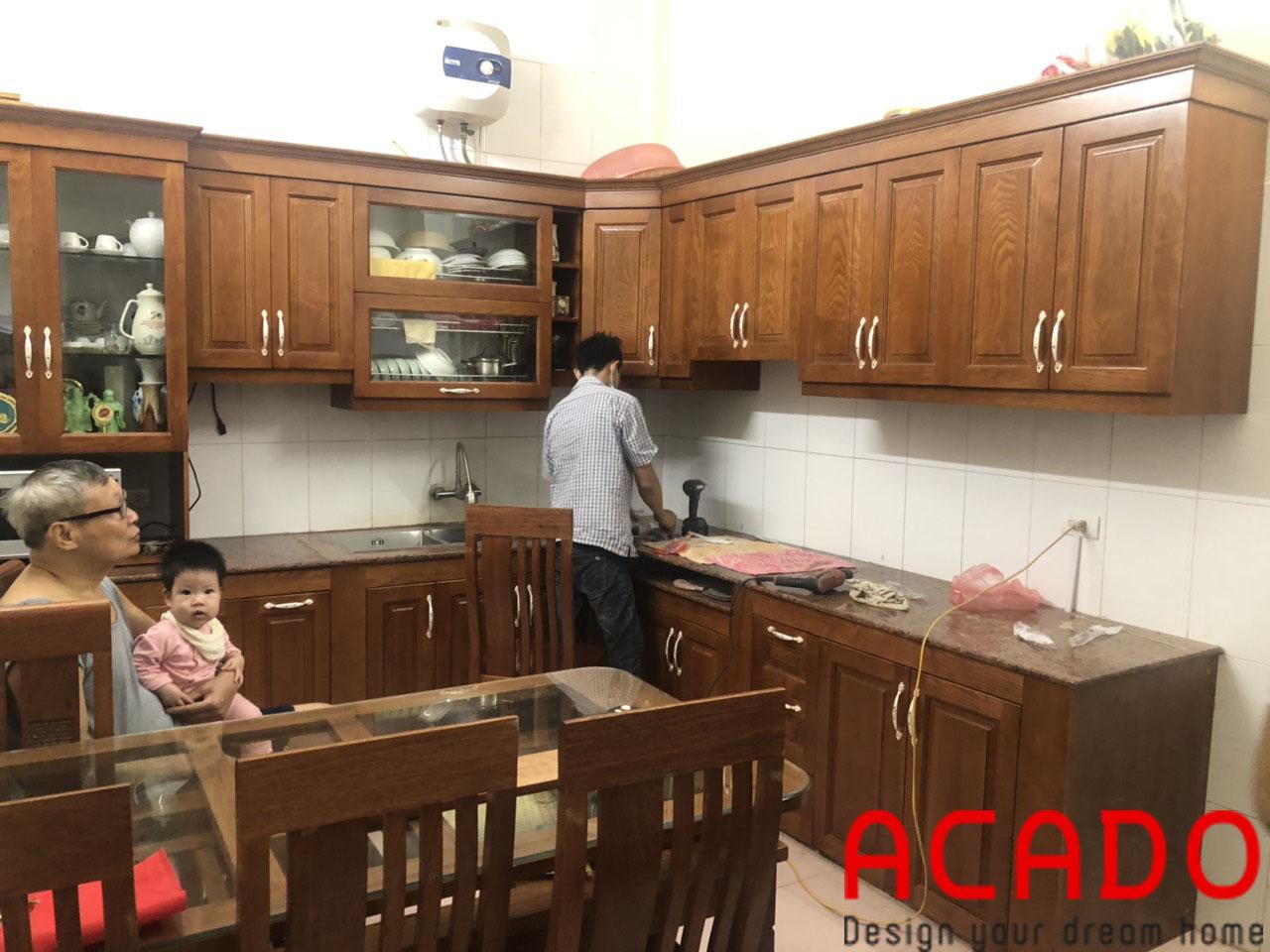 quá trình lắp đặt cho gia đình chú Thịnh-Lắp đặt tủ bếp Thanh Trì