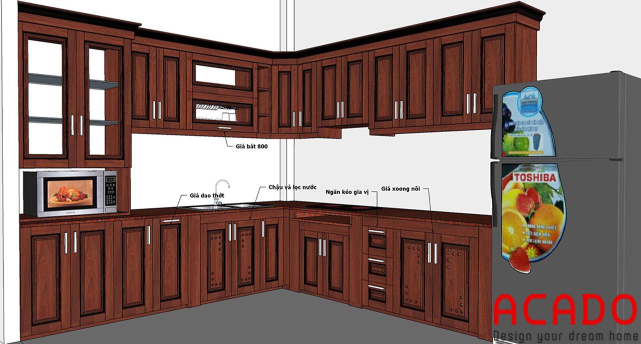 Hoàn thành bản thiết kế phù hợp, dành riêng cho không gian căn bếp nhà chú Thịnh
