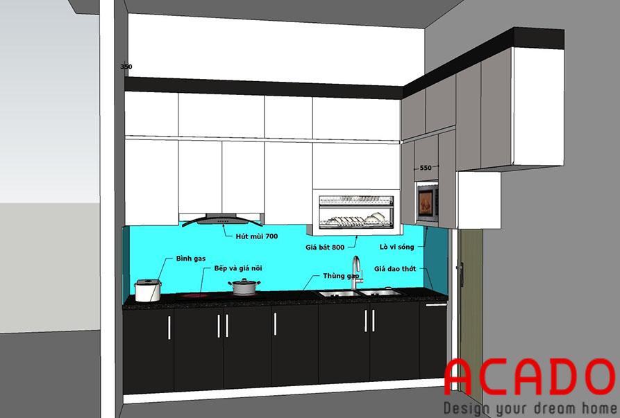 bản thiết kế được ACADO hoàn thiện sau khi thợ thi công qua khảo sát thực tế tại gia đình chị Thủy
