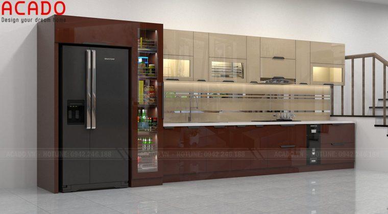 Tủ bếp thiết kế chữ I kết hợp tủ rượu mang lại cảm giác sang trọng - Bộ sưu tập tủ bếp inox cánh kính