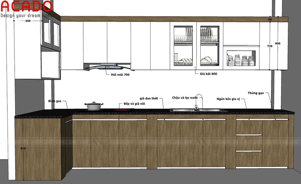 Thiết kế tủ bếp gia đình anh Chuyên. Đầy đủ tiện nghi, công năng sử dụng