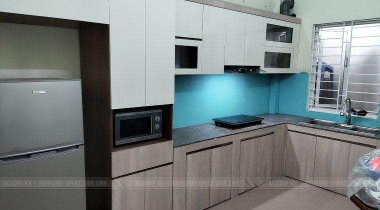 hoàn thiện công trình tủ bếp tại long biên và bàn giao công trình lại cho gia đình anh Nam