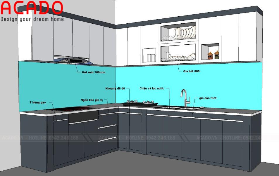 Sau khi khảo sát, nội thất ACADO đã hoàn thiện bản thiết kế cho căn bếp nhà chị Hương