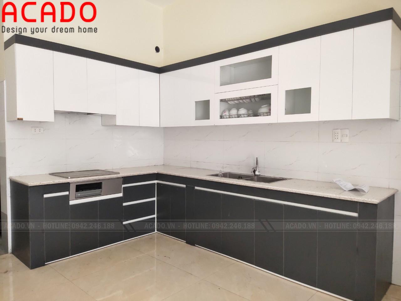 Tủ bếp thiết kế chữ L theo yêu cầu của gia đình chị Hương - Lắp đặt tủ bếp tại Gia Lâm