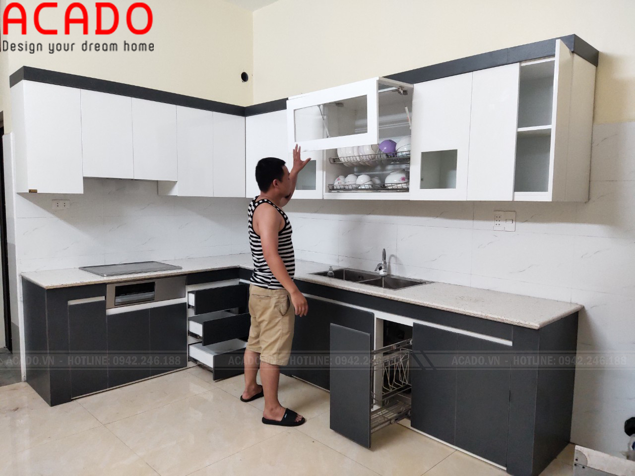 Hoàn thành công trình tủ bếp và bàn giao cho gia đình chị Hương - Lắp đặt tủ bếp tại Gia Lâm